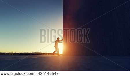 Man pushing big wall to reveal new better green world. Concept of hope, positive change, bright future. 3D illustration