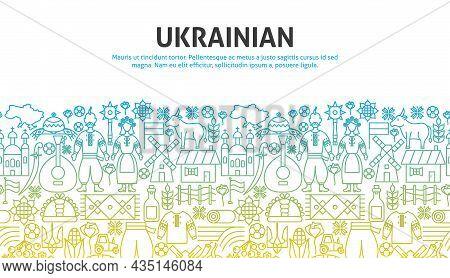 Ukrainian Outline Concept. Vector Illustration Of Outline Design.