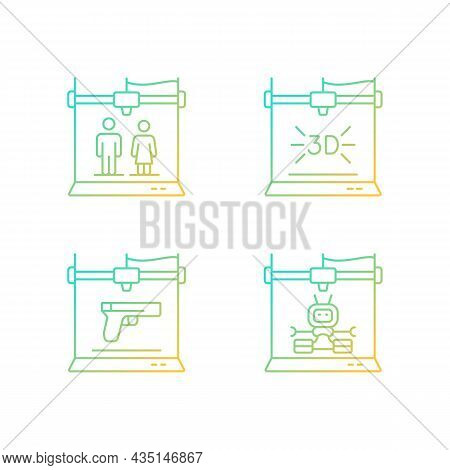 Produce 3d Models Gradient Linear Vector Icons Set. Three Dimensional Object Fabrication. Weapon Man