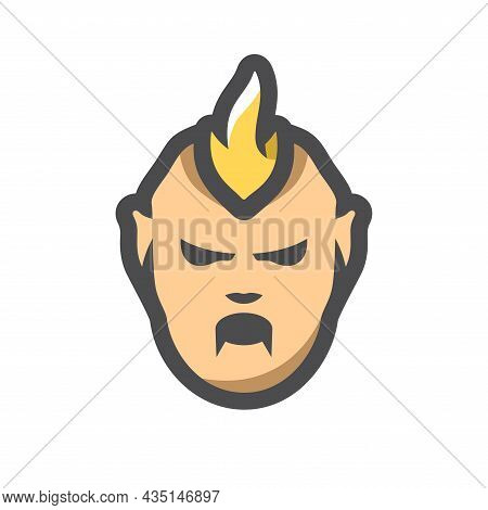 Zombie With Forelock Horror Mask Vector Icon Cartoon Illustration.