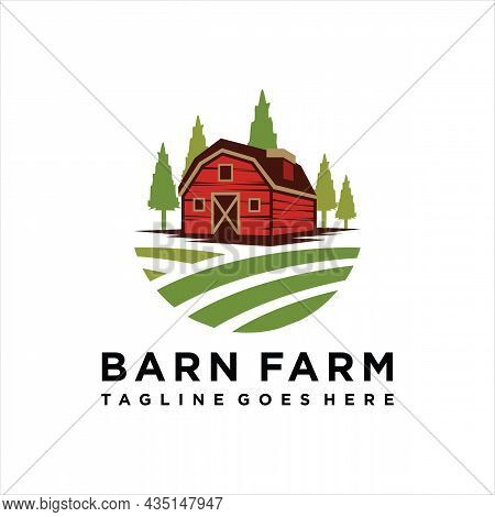 Farmhouse Logo Concept. Template With Farm Landscape. Labels For Natural Agricultural Products.
