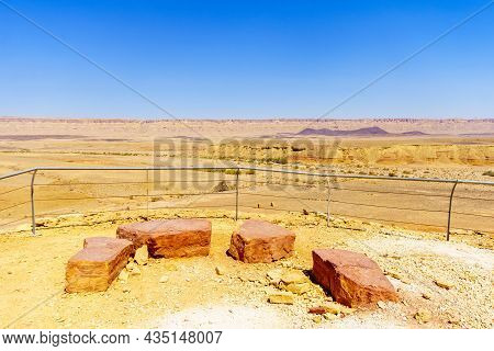 View Of An Observation Point And The Landscape Of Makhtesh (crater) Ramon, In The Negev Desert, Sout