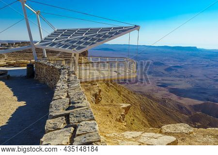 View Of A Hanging Observation Deck On The Edge Of Makhtesh (crater) Ramon, In The Negev Desert, Sout