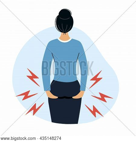 Woman Holds Her Hands Bottom. Hemorrhoids And Health Problems.