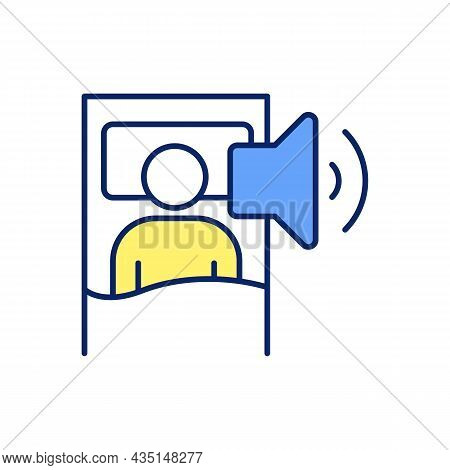 Loud Snoring At Night Rgb Color Icon. Obstructive Sleep Apnea. Noisy Breathing. Nasal Congestion. Sl