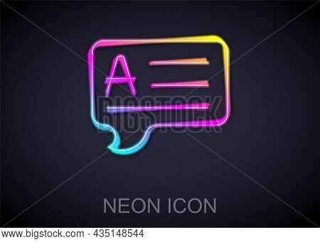 Glowing Neon Line Speech Bubbles With Answer Icon Isolated On Black Background. Faq Sign. Chat Speec