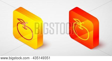 Isometric Line Apple Icon Isolated On Grey Background. Excess Weight. Healthy Diet Menu. Fitness Die