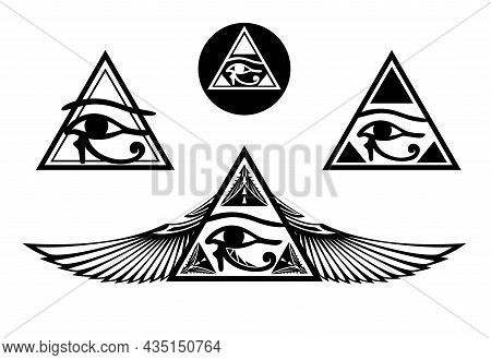 Ancient Egyptian Style Eye Of Horus Inside Triangle Pyramid Shape - Vector Design Set Of Magical All