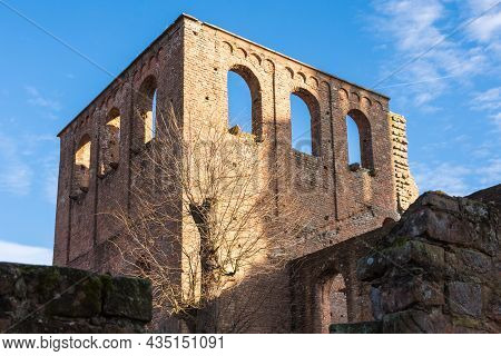 Ruins Of Limburg Abbey Against Blue Sky, Bad Duerkheim, Rhineland-palatinate, Germany