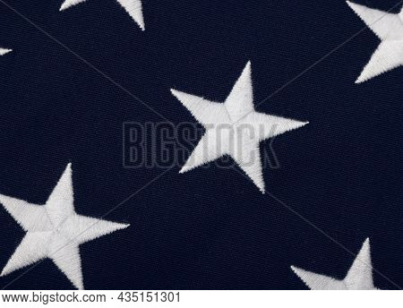 Close Up Embroidered White Stars On Blue Canton Of Heavy Cotton Canvas Us National Flag, Symbol Of A