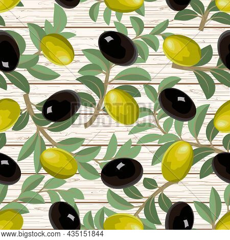 Vector Pattern With Branches Of Olives.branches With Black And Green Olives On A Wooden Background I