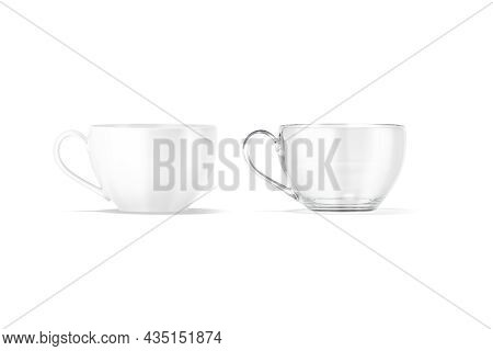Blank Ceramic And Glass 7 Oz Tea Mug Mockup, Front View, 3d Rendering. Empty Crystal Tankard For Mor