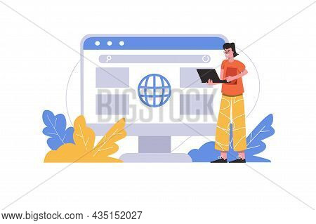 Man Browsing News Using Laptop. User Interacts With Browser Interface At Search Page, People Scene I