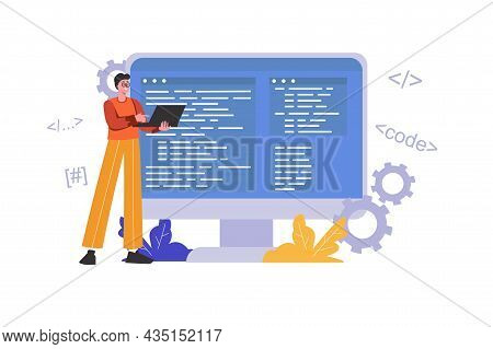 Developer Programming And Writing Code Using Laptop. Programmer Works, Optimizes And Tests Program,