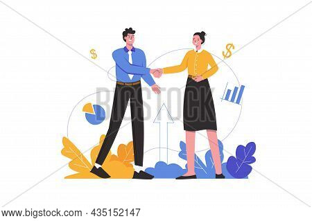 Businessman And Businesswoman Make Business Deal. Man And Woman Shake Hands, People Scene Isolated.