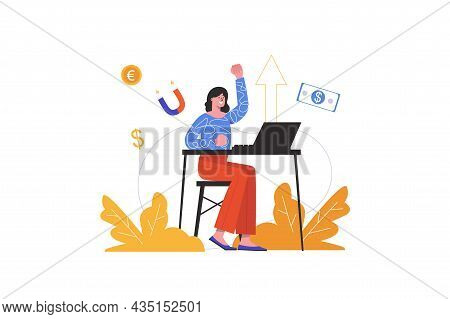 Woman Earning Online By Working On Laptop At Home. Businesswoman Increases Income In Internet, Peopl