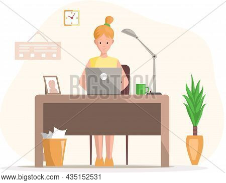 Working Female Character Employee In Office Sitting At Table With Computer, Typing On Keyboard. Girl