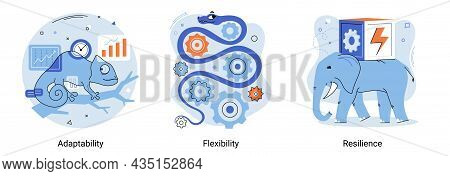 Personal Quality Concept Creative Metaphor Set. Adaptability, Flexibility And Resilience, Mental Str
