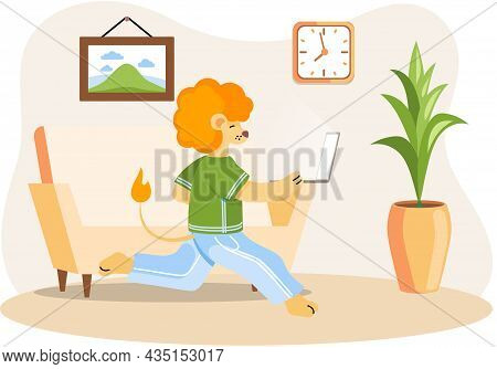 Working Animals Cute Cartoon Character Works At Home With Laptop, Performs Work And Tasks. Running L