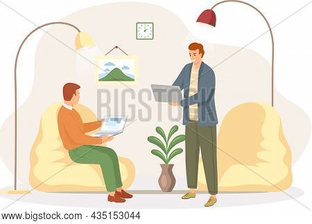Two Business Men Sitting In Office Talking, Brainstorming, Meeting Or Interview Concept Flat Vector.