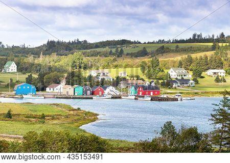 Local fishing community and oyster barns in Kensington, Prince Edward Island, Canada. Rural scene in summer.