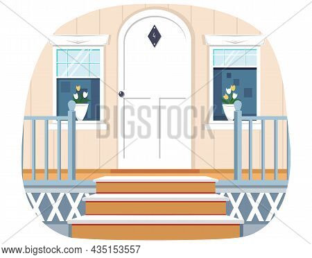 Entrance To House, Decorated With Wooden Railing. Architectural Detail Of Building. Fragment Of Faca