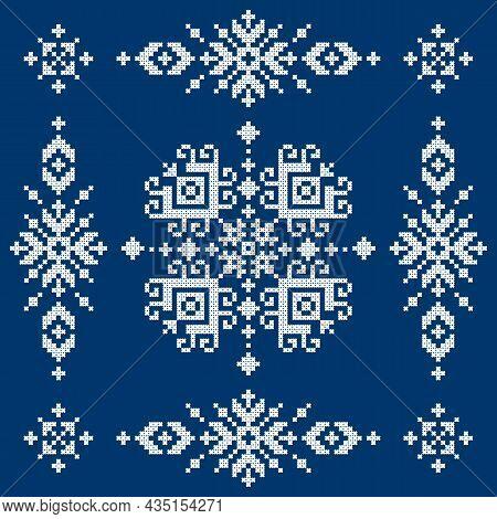 Bosnia And Herzegovina Ethnic Folk Art Vector Pattern Styled As Zmijanje Cross-stitch Embroidery Des