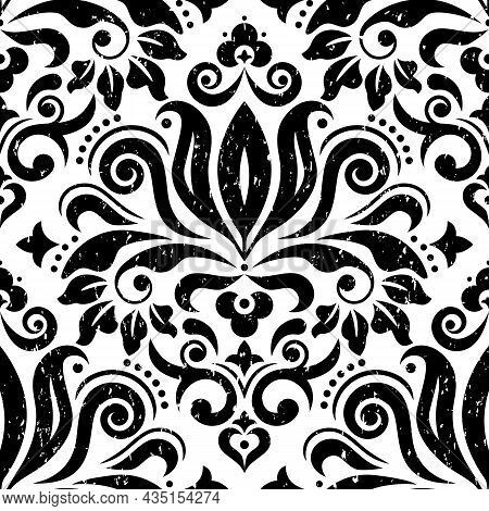 Retro Damask Fabric Print Vector Seamless Pattern In Black, Scratched Textile Vector Design With Flo