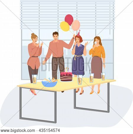 Business Celebration Concept. Team Celebrates Company Anniversary. Birthday Party In Office. Workers