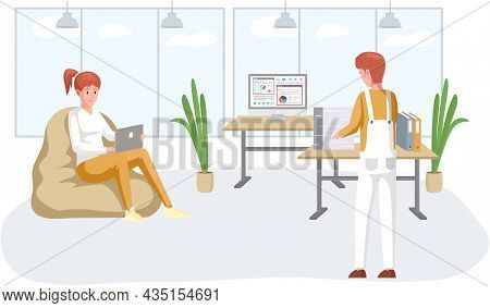 Working People. Office Staff, Work And Communication. Head And Subordinates. Various Workers, Manage