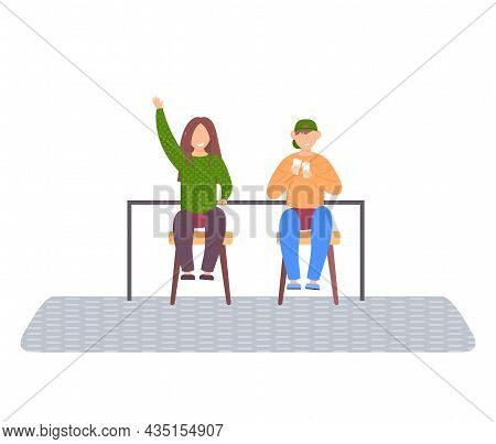 Children Playing Cards Sitting At Table In Room, Friends Having Good Time Together Vector Illustrati