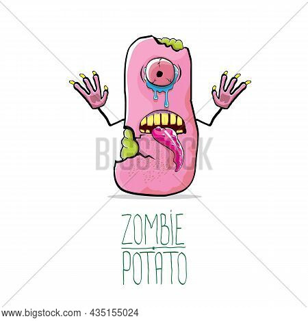 Vector Funny Cartoon Cute Pink Zombie Potato Character Isolated On White Background. My Name Is Zomb