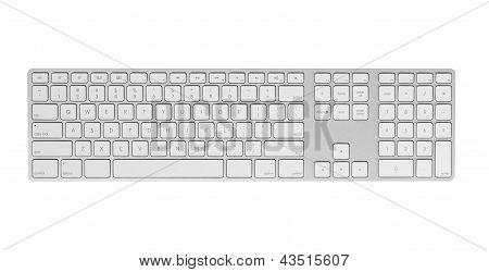 Gray keyboard isolated on white background.