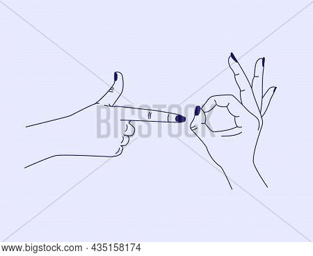 Vector Abstract Design Template In Simple Linear Style - Hands Showing Sex Symbol. Minimalism Isolat
