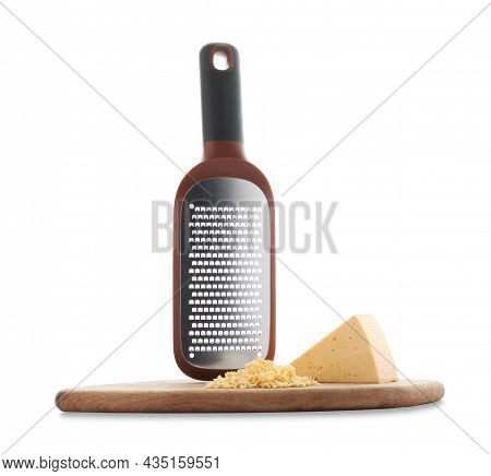 Hand Grater And Cheese With Wooden Board Isolated On White