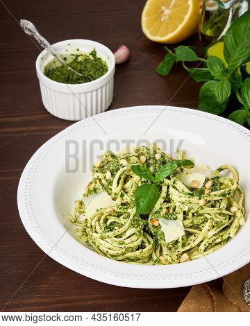Traditional Italian Pasta Pesto With Pine Nuts, Pound Garlic, Basil Leaves, Hard Parmesan Cheese, Le