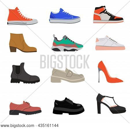 Random Female Shoes Flat Vector Illustrations Set. Summer, Autumn And Winter Foot Wear For Women, Mo