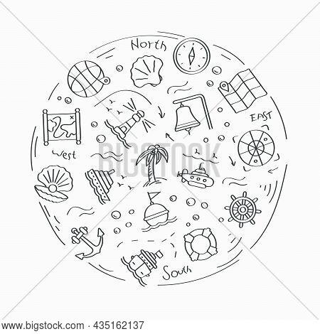 Set Of Doodle Linear Icons. Submarine, Lifebuoy, Buoy On Waves, Compass, Map, Shell, Boat Wheel, Lig