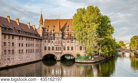 Panoramic view with Hospice of the Holy Spirit in Nuremberg in the evening, Germany
