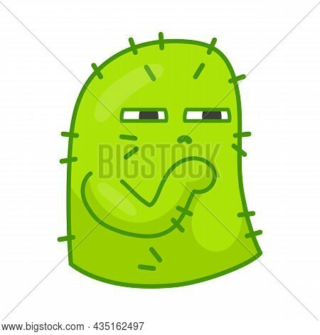 Cactus Cartoon Character Sticker. Green Plant With Spikes. Flat Vector Illustration. Face Expression