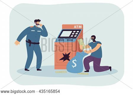Police Officer Character Threatening Criminal Attacking Atm. Fraud Robbing Automated Teller Machine