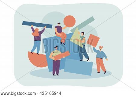 Team Of People Carrying And Arranging Geometric Figures Together. Cartoon Characters With Abstract P