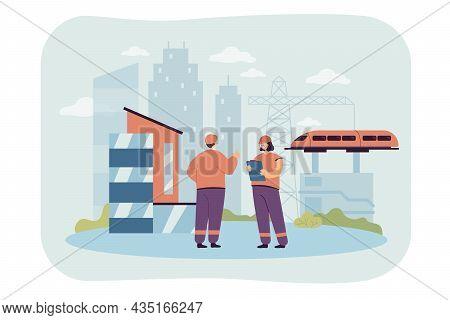Cartoon Engineers Working On Railway Construction. Building Railroad, Industrial Management Flat Vec