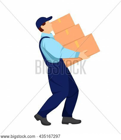 Mover Carries Heavy Boxes In His Hands. Relocation. Transport Company. Moving Service. Service Deliv