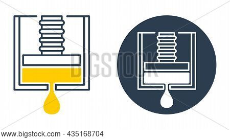 Cold-pressed Oil Icon - Oils Made Without Heat Or Chemicals. Vector Stamp For Labeling Of Skincare A