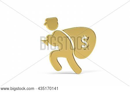 Golden 3d Thief Icon Isolated On White Background - 3d Render