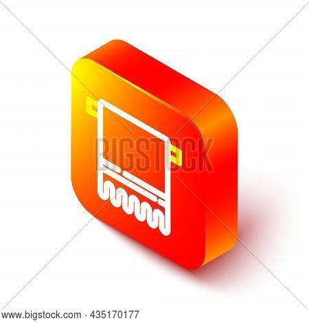 Isometric Line Towel On A Hanger Icon Isolated On White Background. Bathroom Towel Icon. Orange Squa
