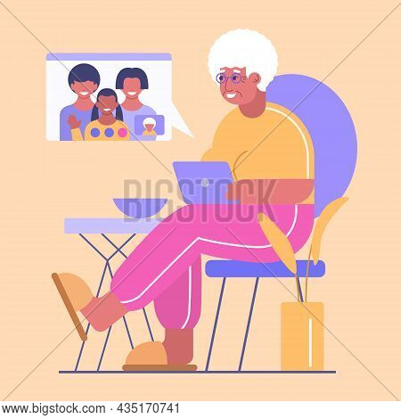 Happy Grandma With Laptop Has Communication With Her Family By Video Call. Granny Has Online Chat Wi