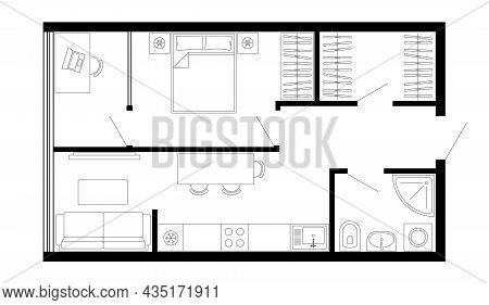 Floor Plan Of Apartment. Vector Architecture Studio Plan Of Condominium, Flat, House. Interior Desig