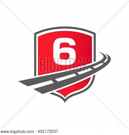 Transport Logo With Shield Concept On Letter 6 Concept. 6 Letter Transportation Road Logo Design Fre